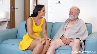 An old chap is seduced by a tall curvy young woman and that tot loves sex