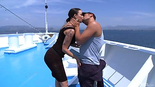 Latina slut with a tattooed relative to Sophia Santi rides dick on a yacht