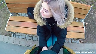 Naughty Russian teen Eva Elfie gives a blowjob in develop b publish for money